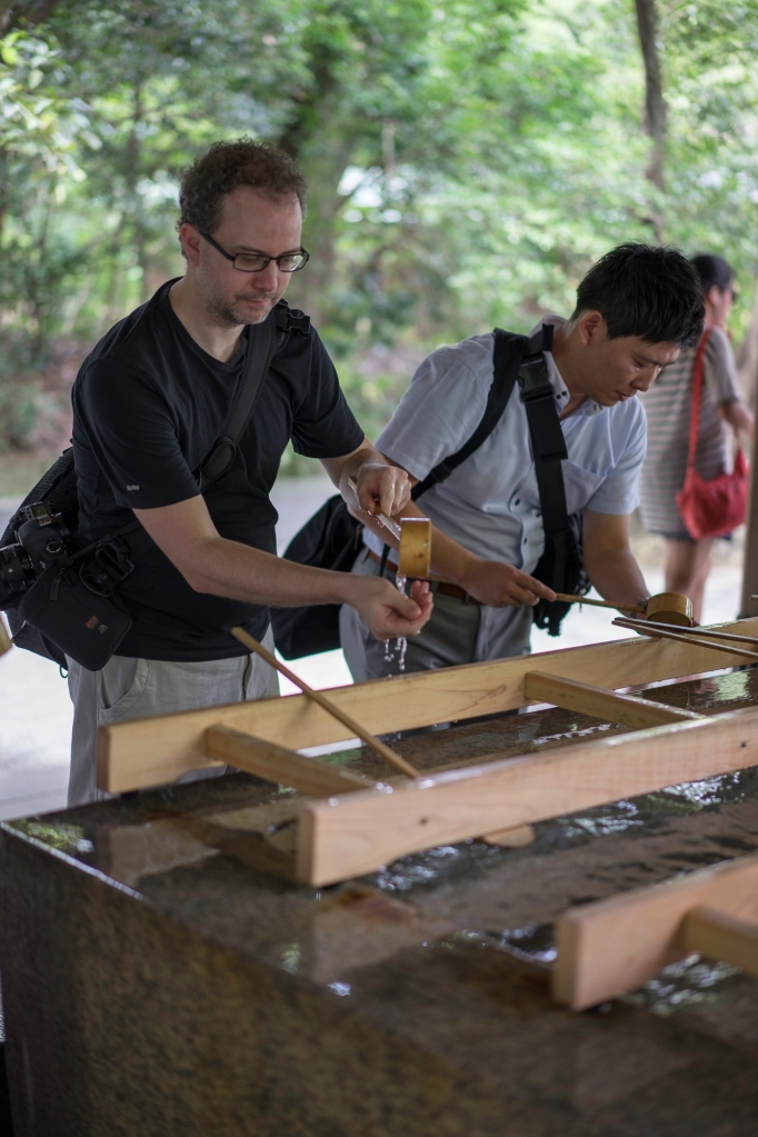 Nick performing his first ever misogi (purification ritual before entering a Shrine), Meiji Jingu, Tokyo