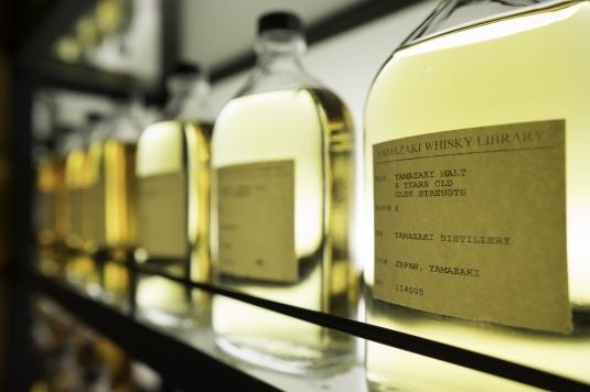 Bottles in the Yamazaki Whisky Library, Japan.